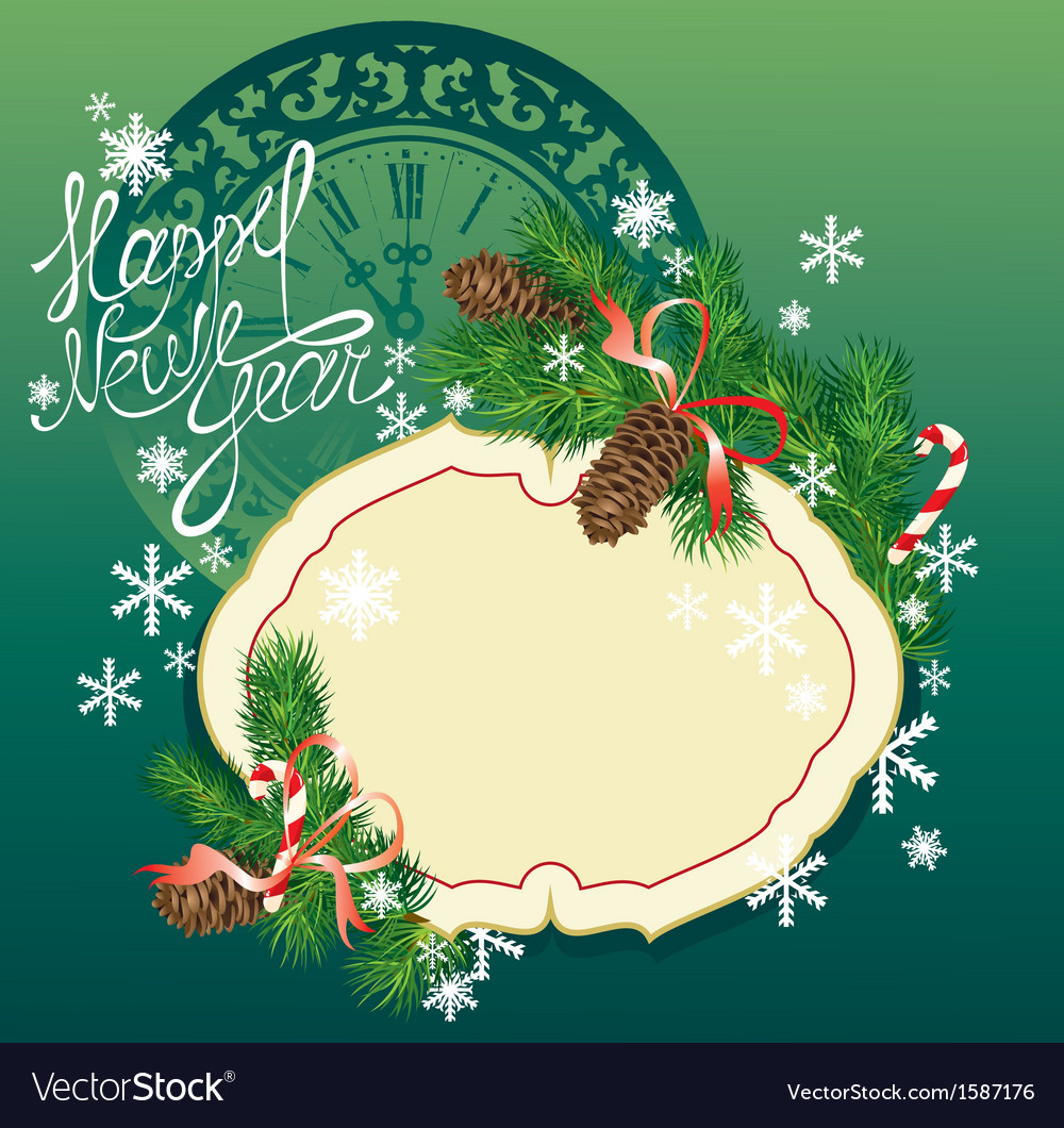 new year background fir tree branches and pine vector image