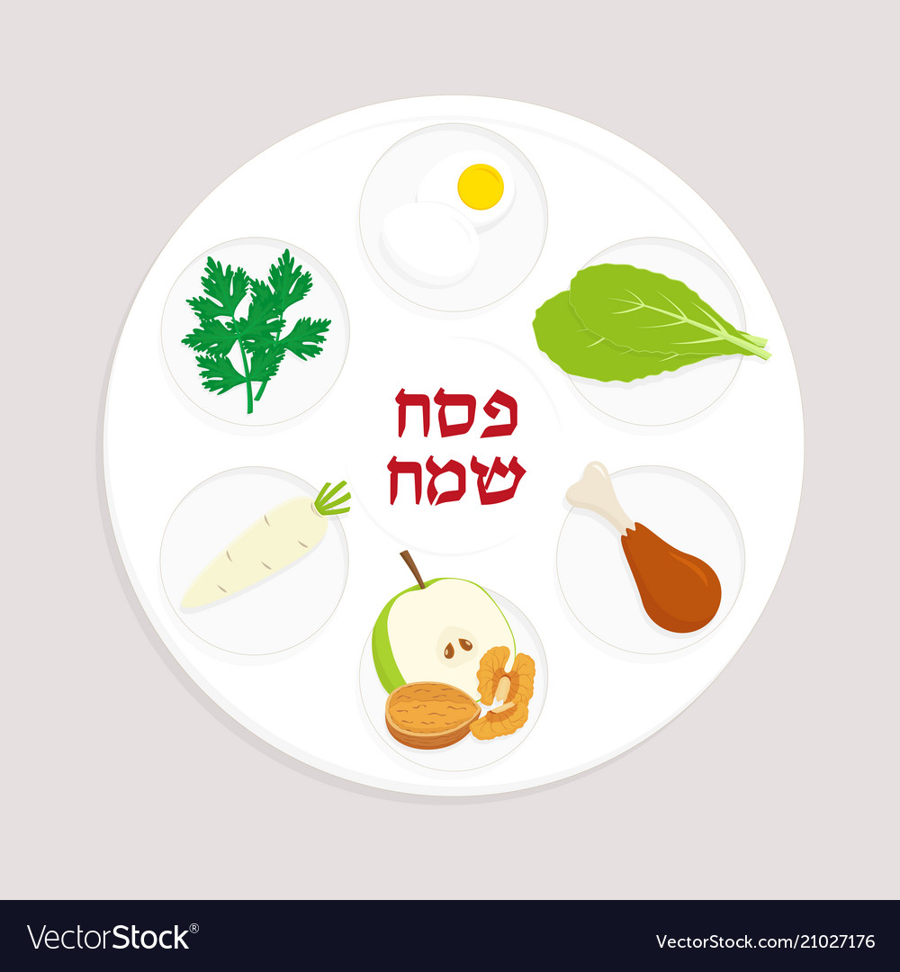 Passover Plate Jewish Holiday Royalty Free Vector Image