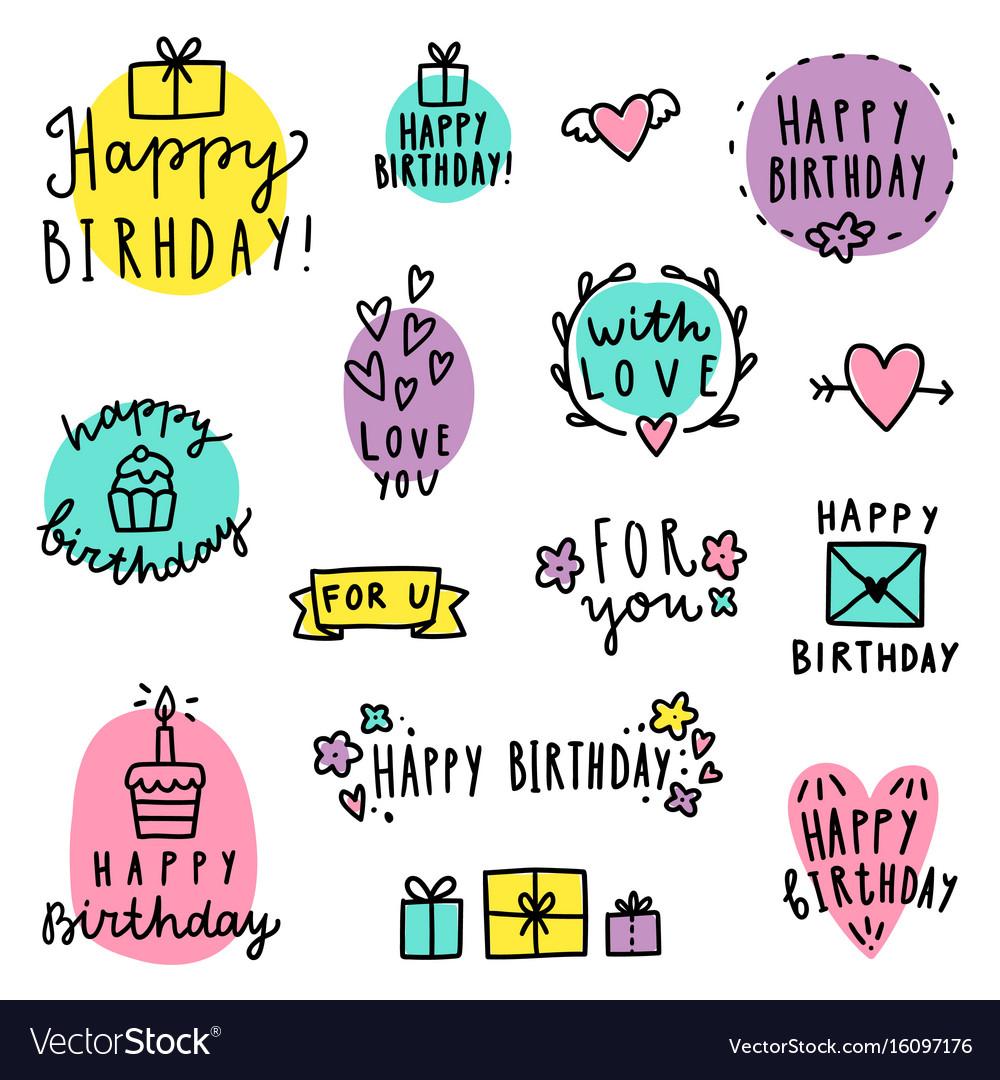 Set birthday lettering