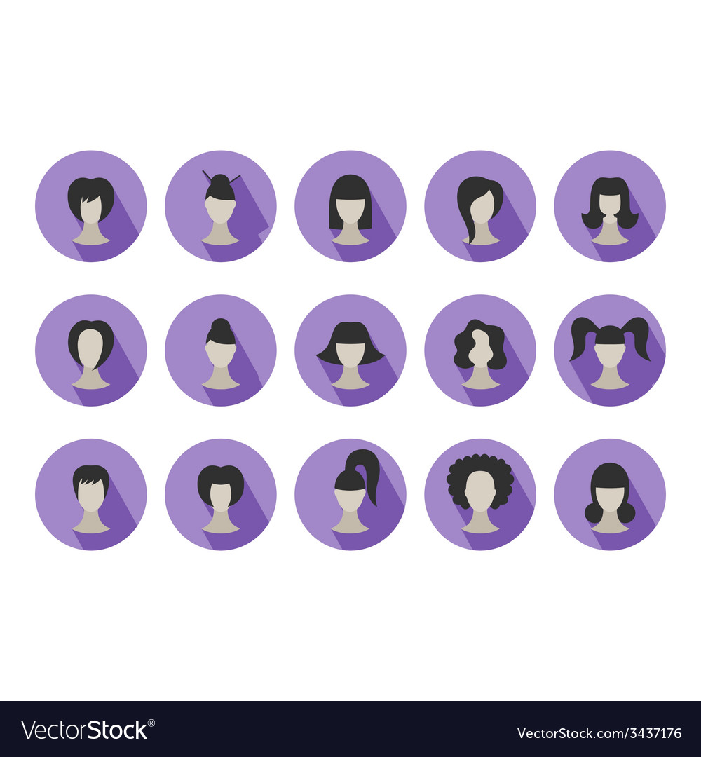 Set of flat icons of hairstyles for woman