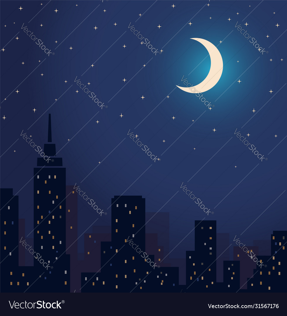 Silhouette city and night with stars and