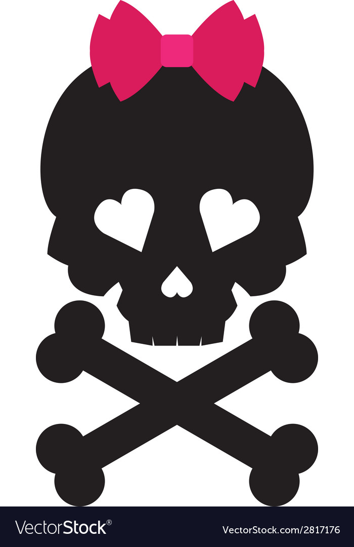 Skull with a pink bow on white background