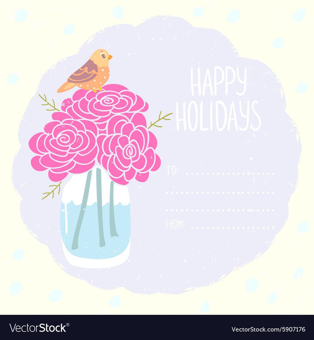 Vase flowers greeting card