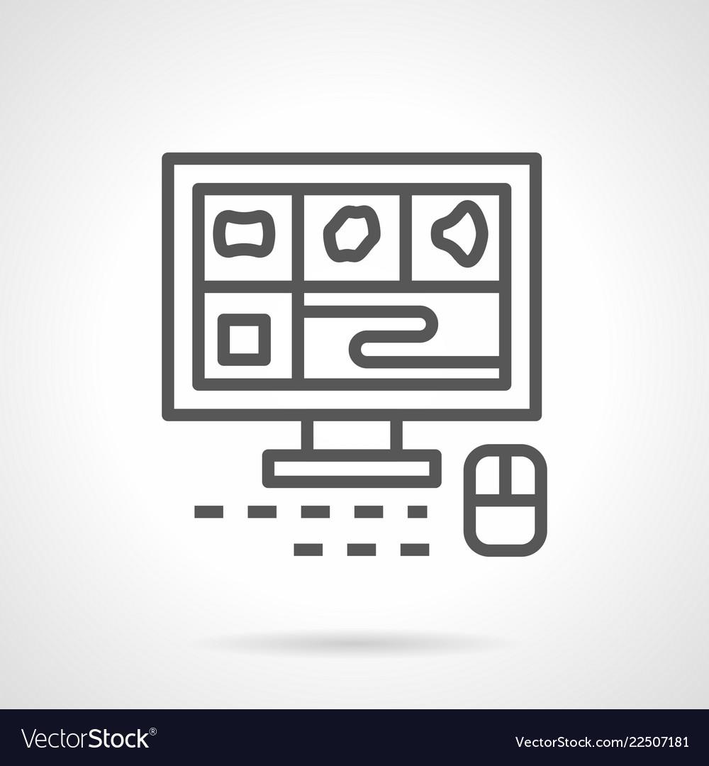 A computer tomography monitor line icon