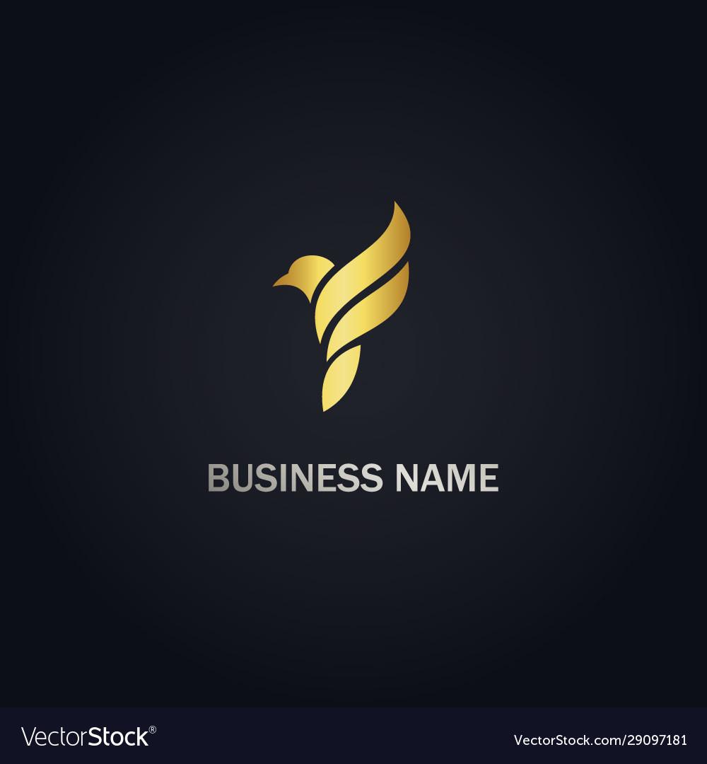 Bird fly animal gold logo