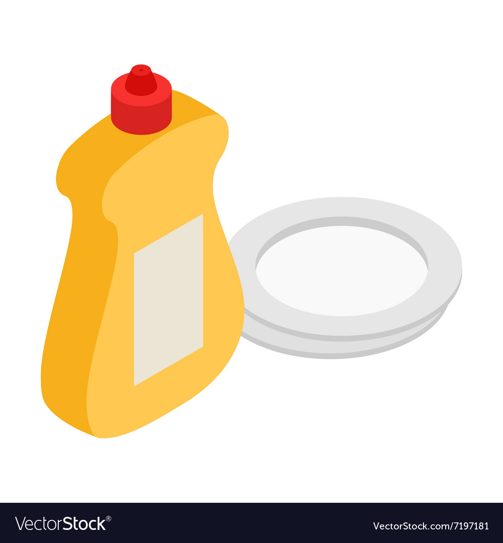 Detergent and plate isometric 3d icon