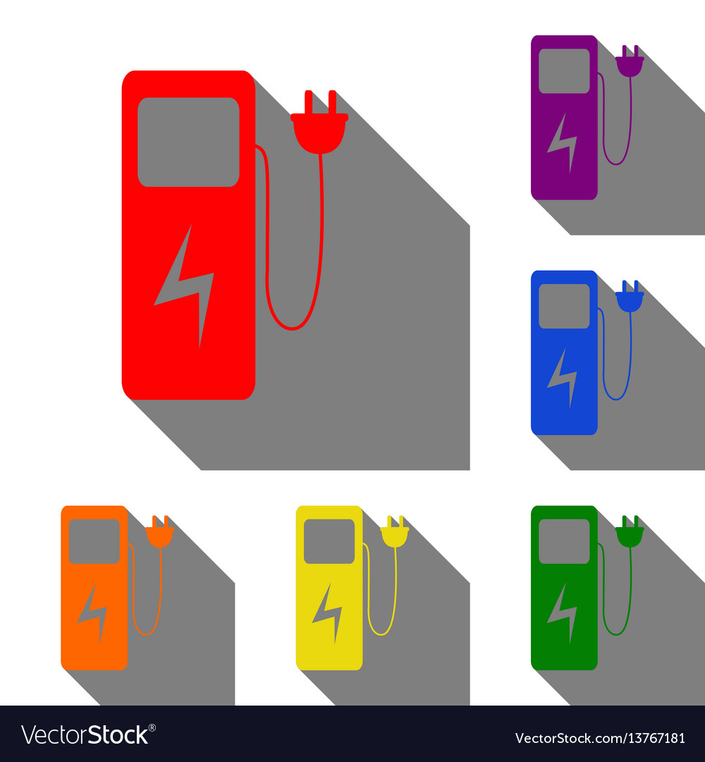 Electric Car Charging Station Sign Set Of Red Vector Image Charger Diagram