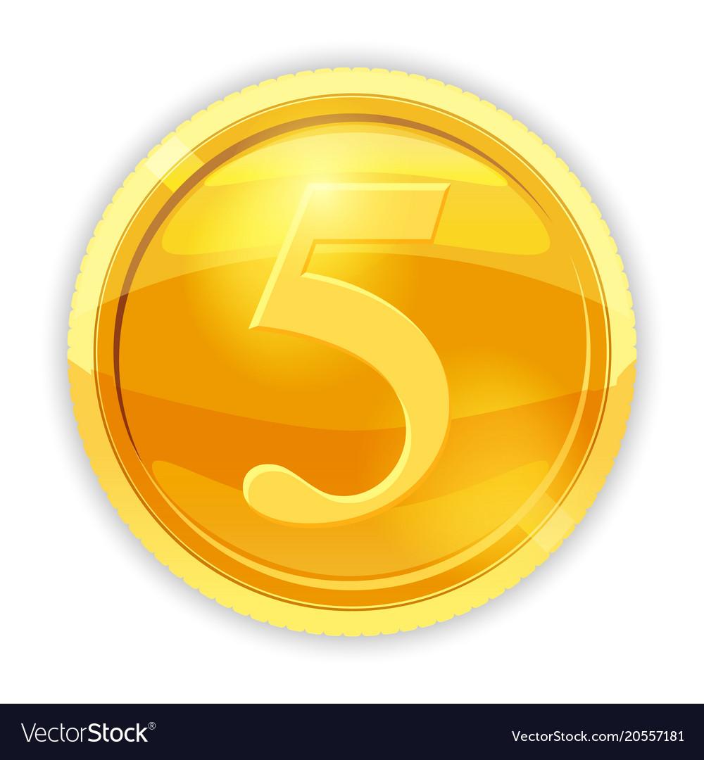 Gold Coin Value 5 Cartoon Vector Image