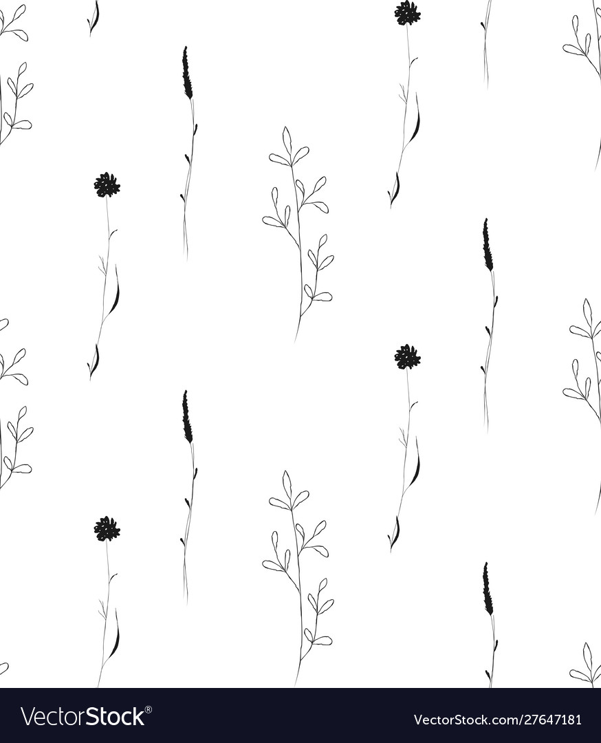 Hand drawn rustic floral seamless pattern