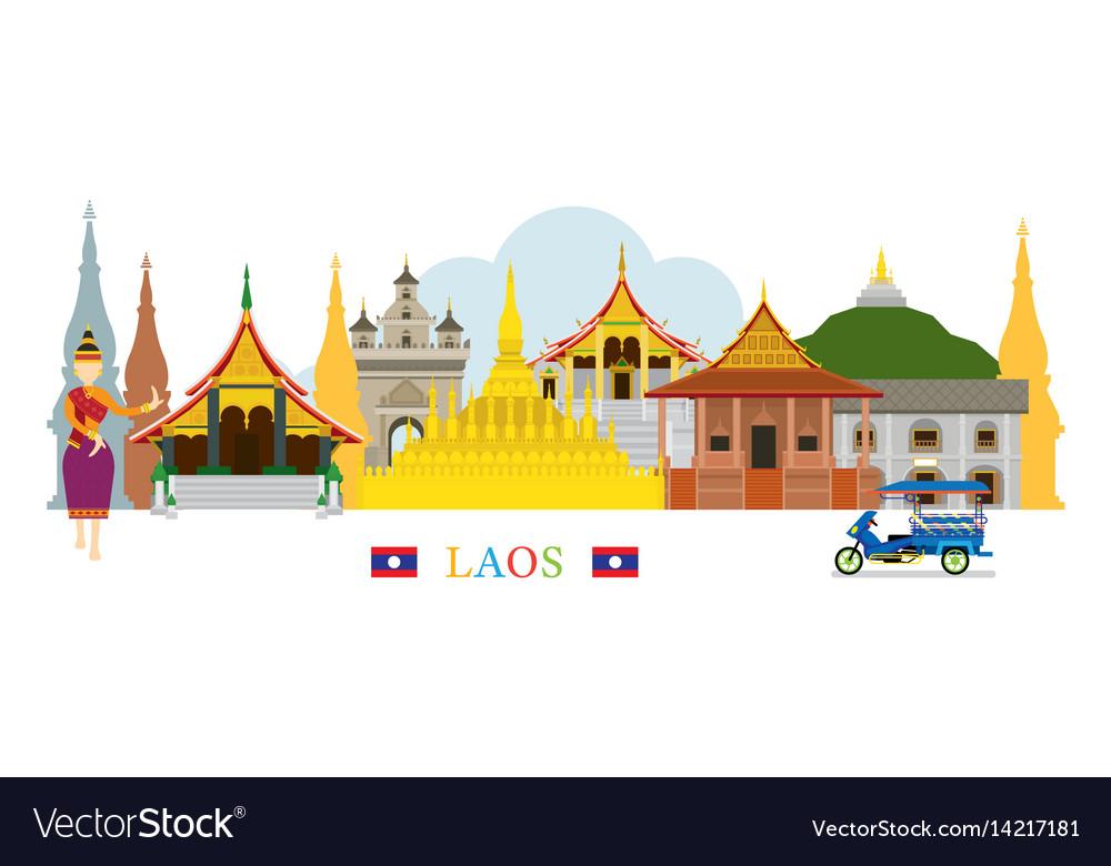 Laos landmarks skyline