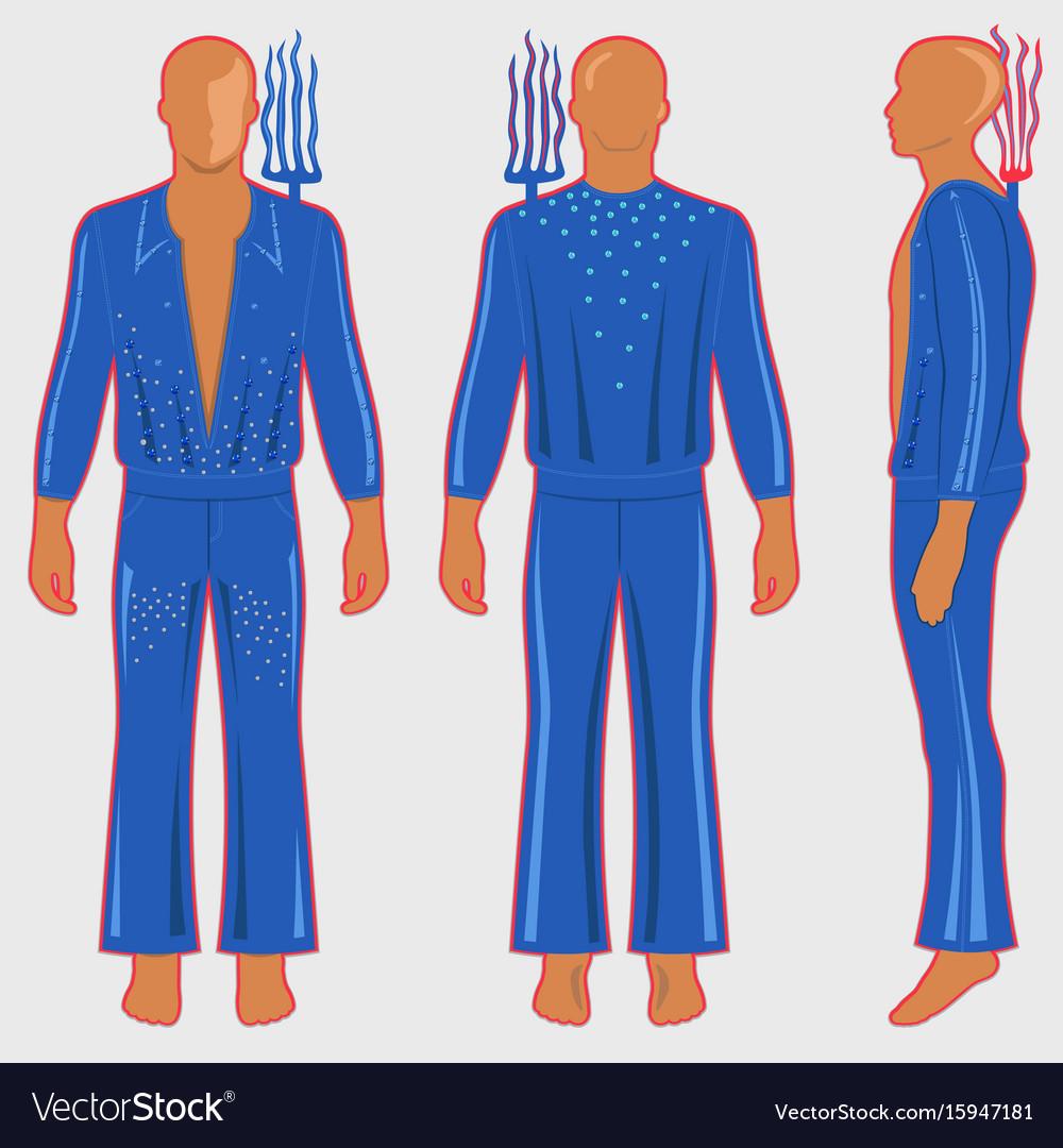 Man silhouette in fantastic costume vector image