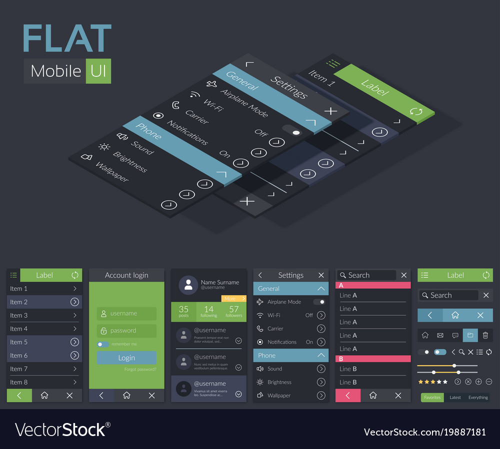 mobile flat ui design template royalty free vector image