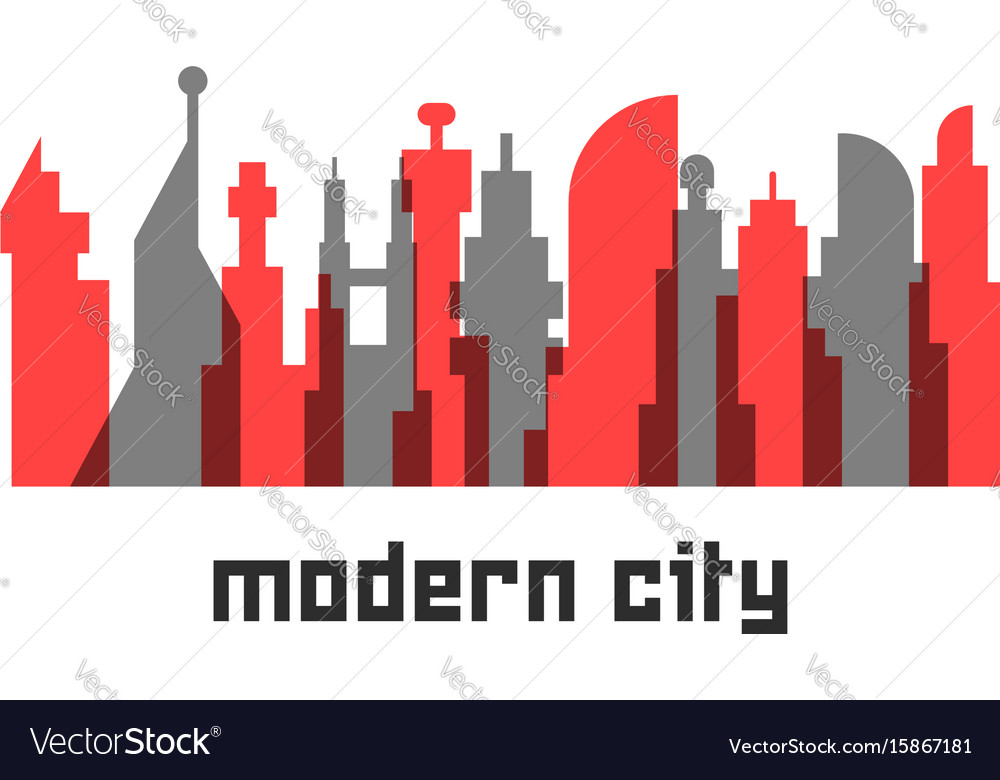 Modern city with colored skyscrapers