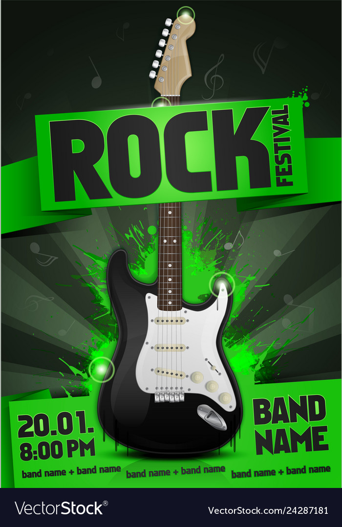 Rock festival concert party poster with guitar vector