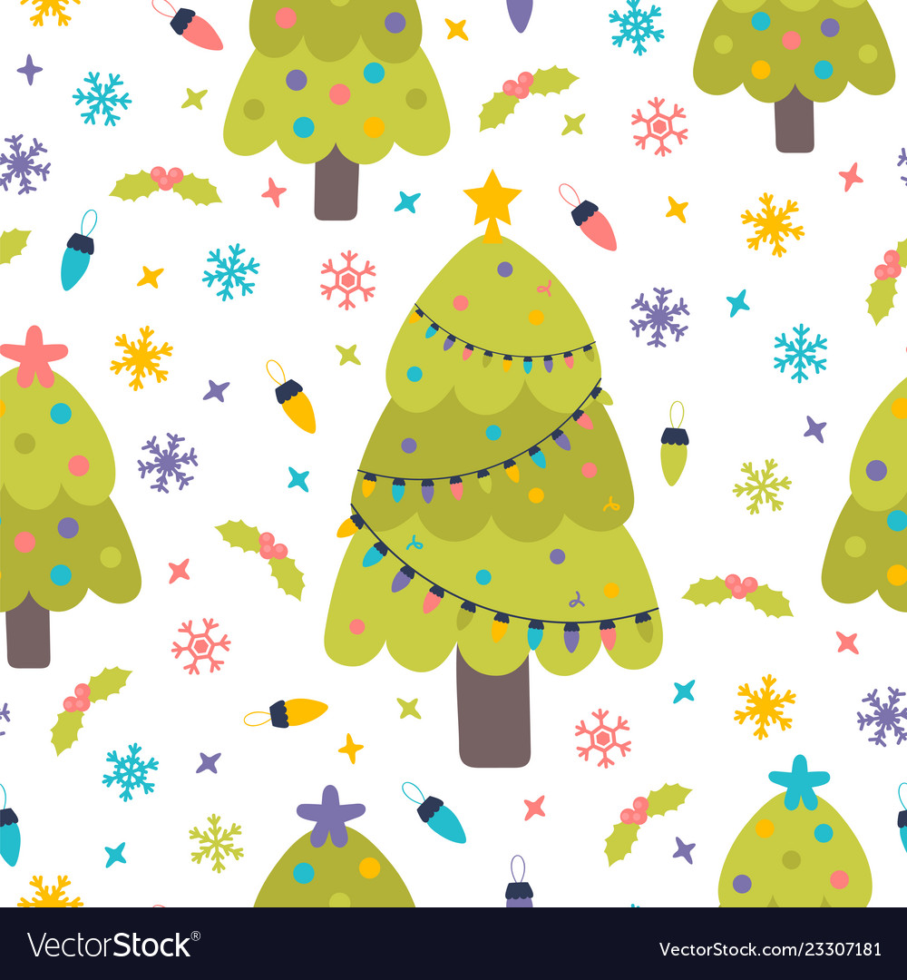Seamless pattern with christmas trees snowflakes