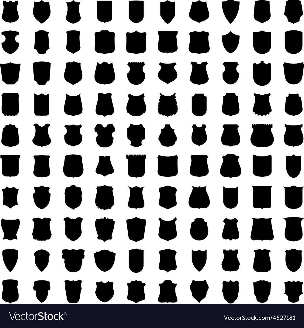 Set of 100 heraldic shield silhouettes vector image