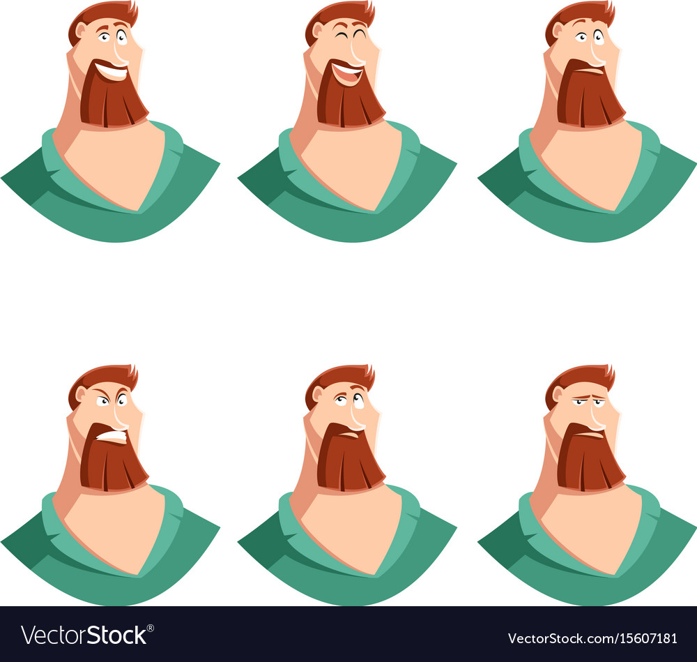 Set of beard man face icons vector image
