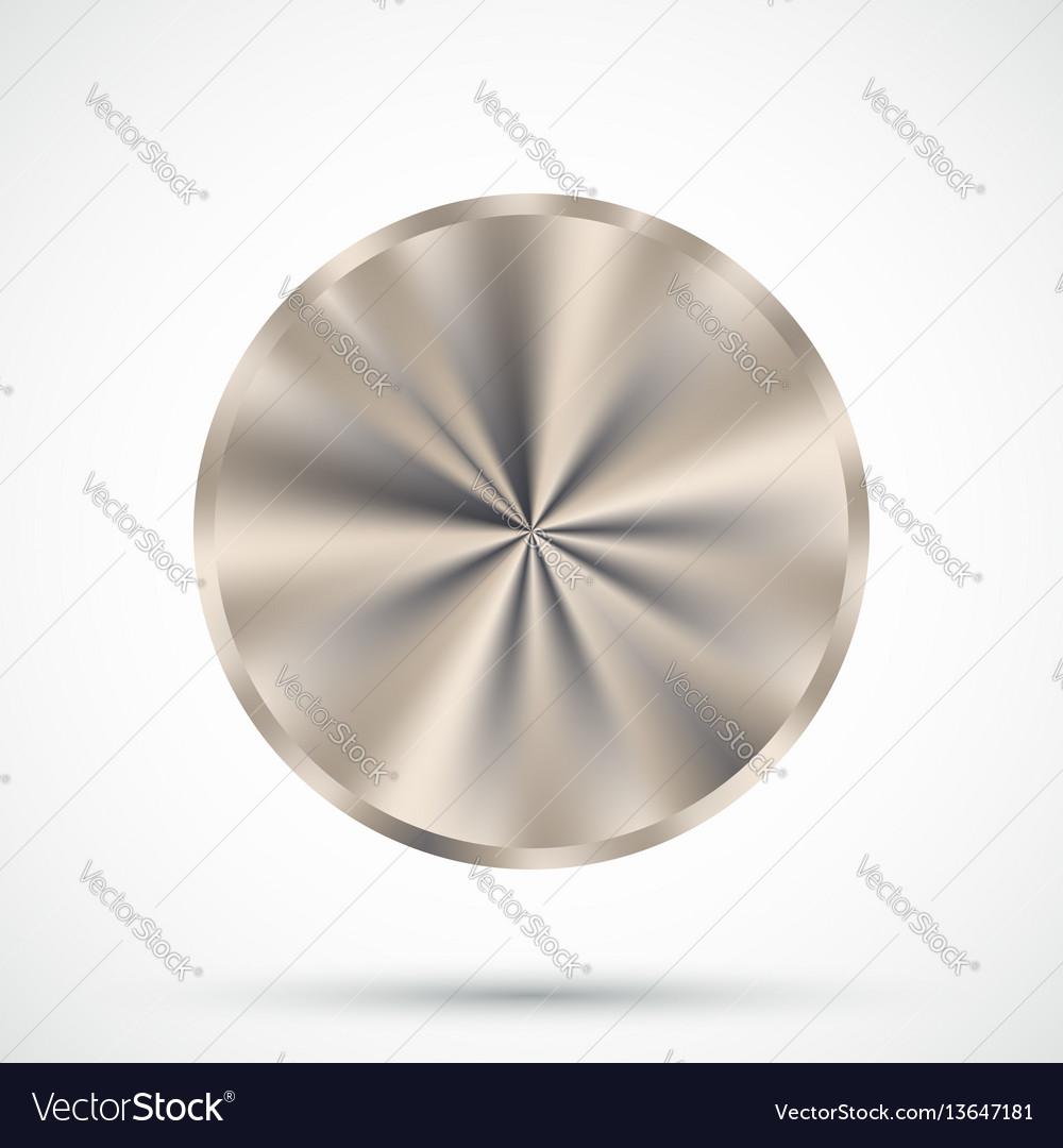Steel round button vector image