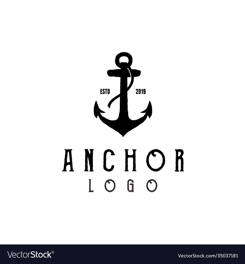 Vintage hipster silhouette anchor logo design