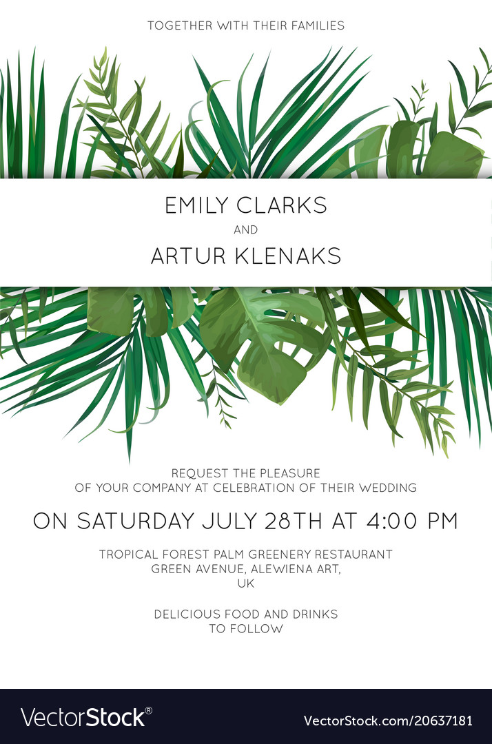 Wedding tropical leaves invitation card design vector image stopboris Image collections