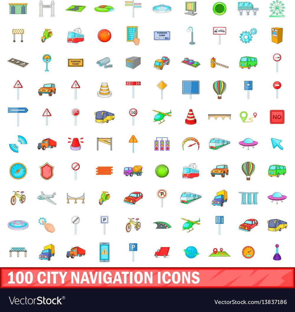 100 city icons set cartoon style