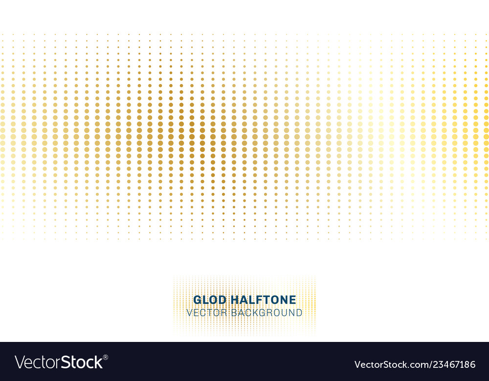 Abstract gold dots pattern halftone on white