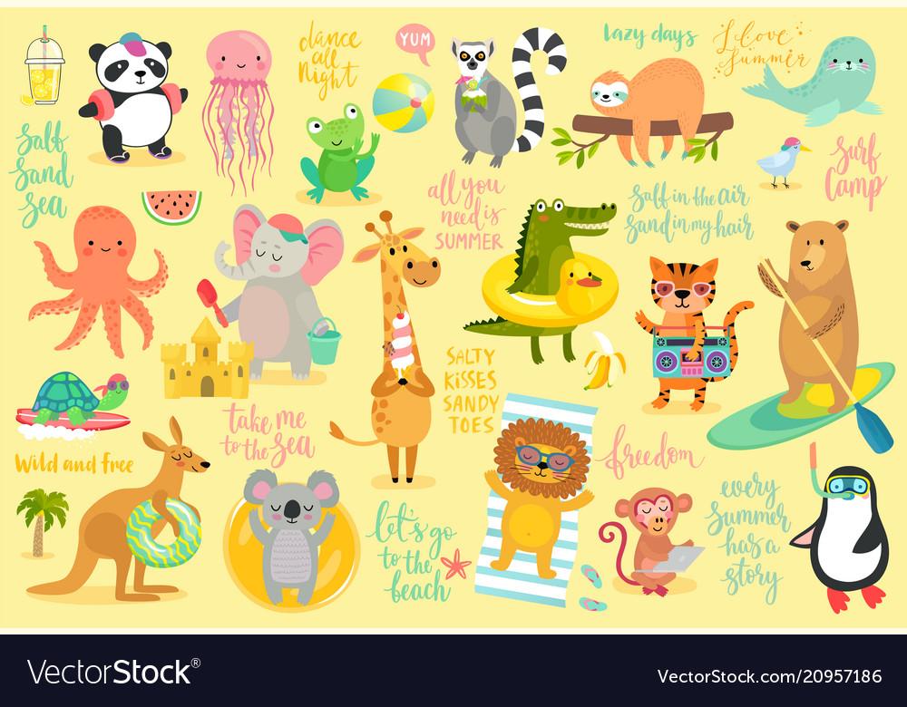 Beach animals hand drawn style summer set