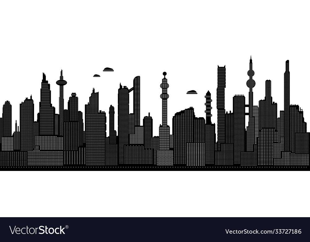 Black and white cyberpunk cityscape