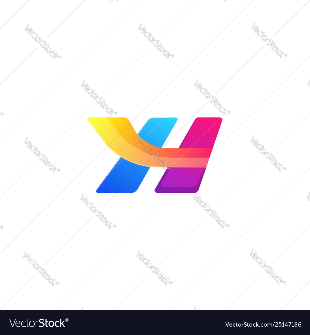 Bright letter h colors logo template concept