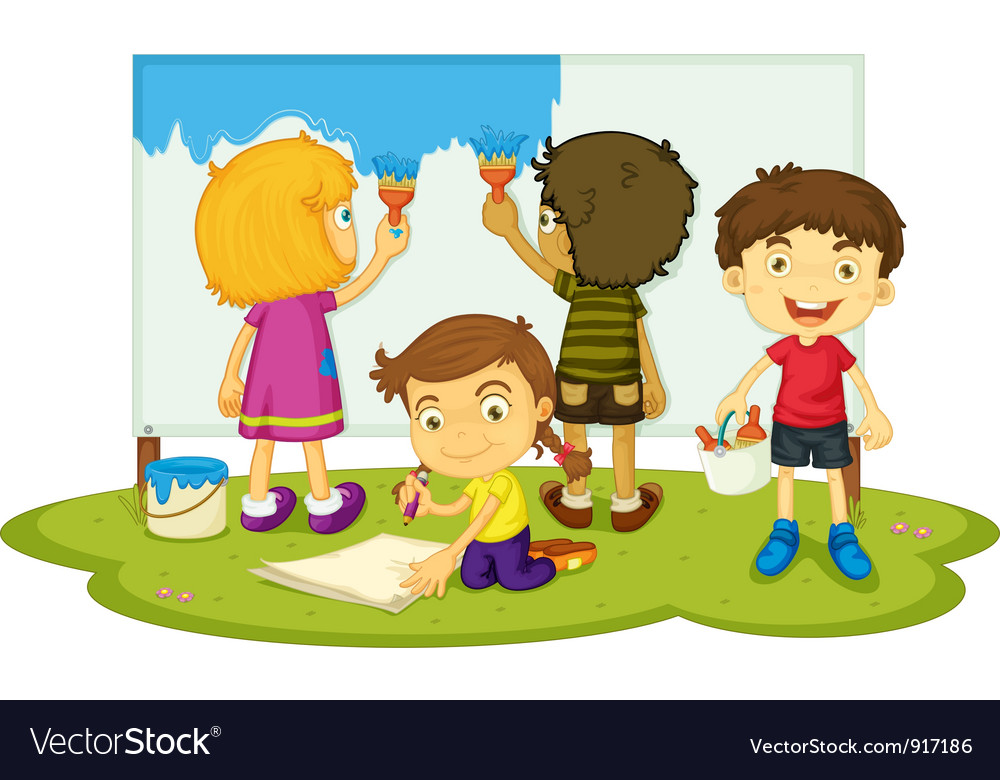 Children painting Royalty Free Vector Image - VectorStock