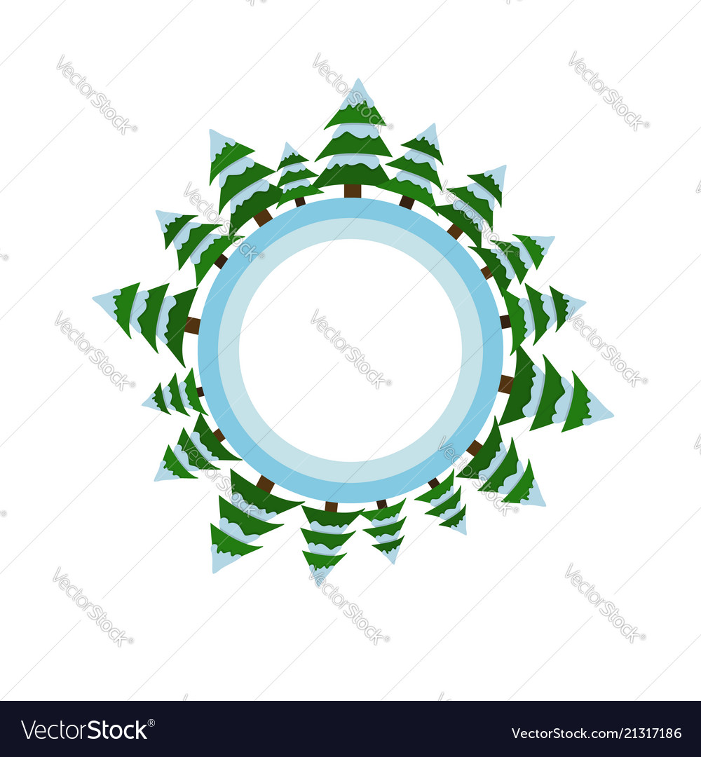 Circle with christmas trees and snow