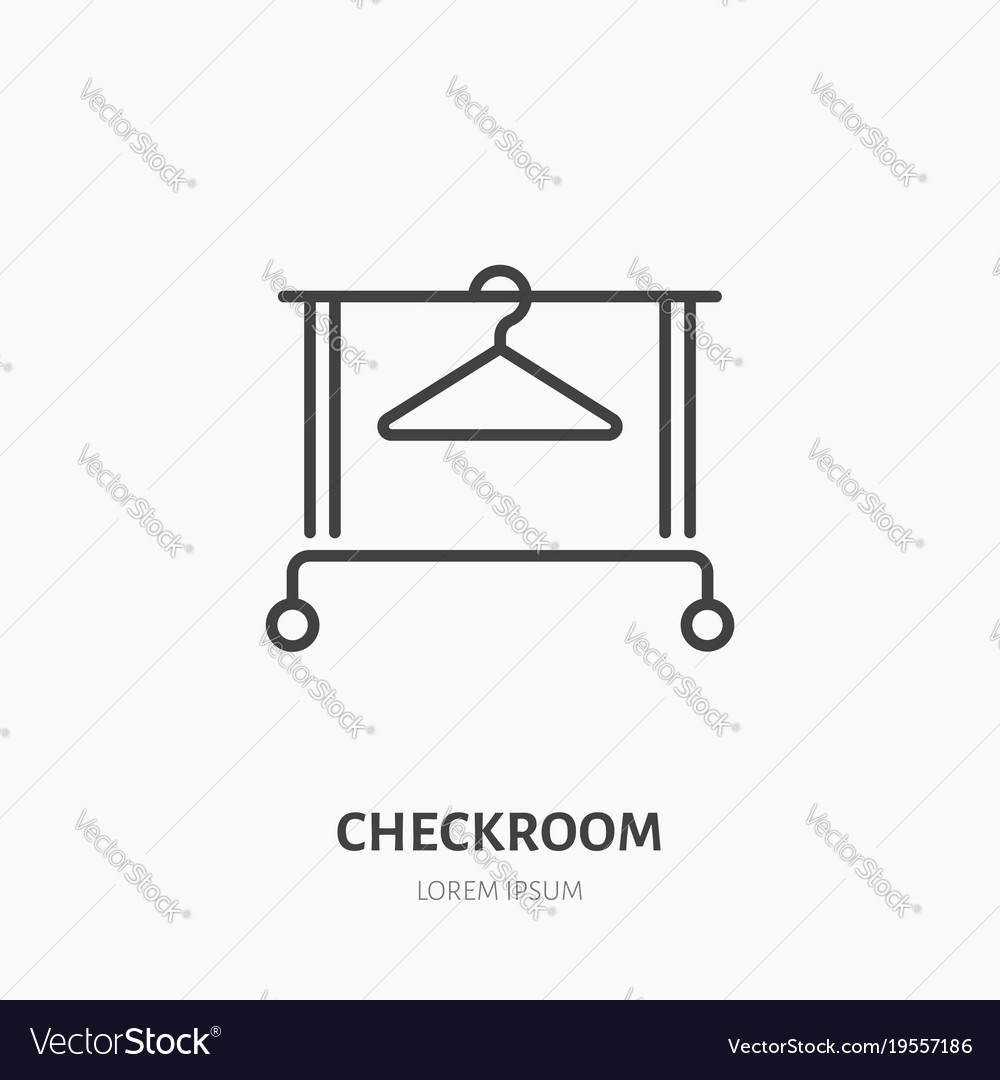 Clothes hanger icon clothing rack line logo flat