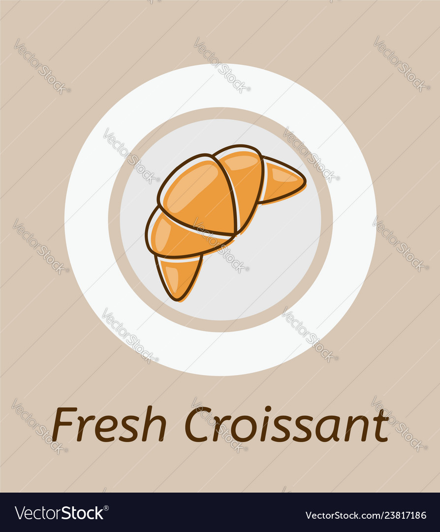 Drawing of croissant and plate icon