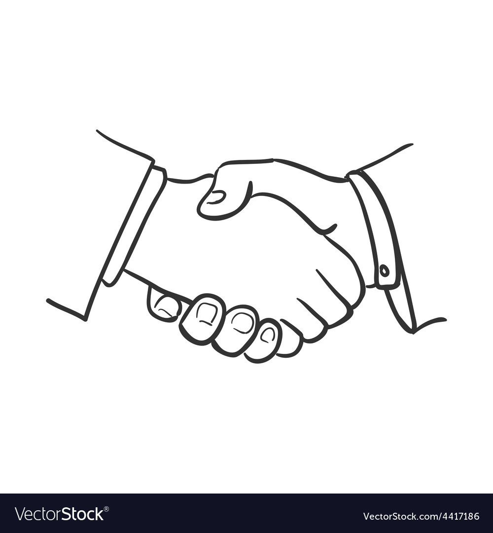 Hand Draw Doodle Handshake Royalty Free Vector Image