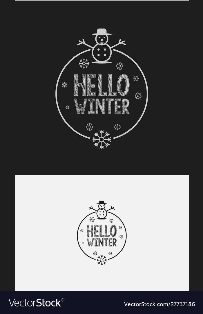 Hello winter with hand lettering design background