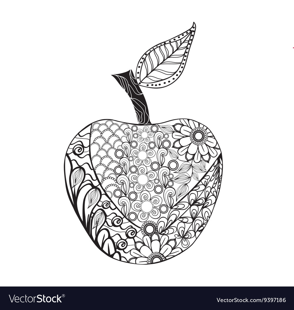 Monochrome Apple zentangle style for coloring book