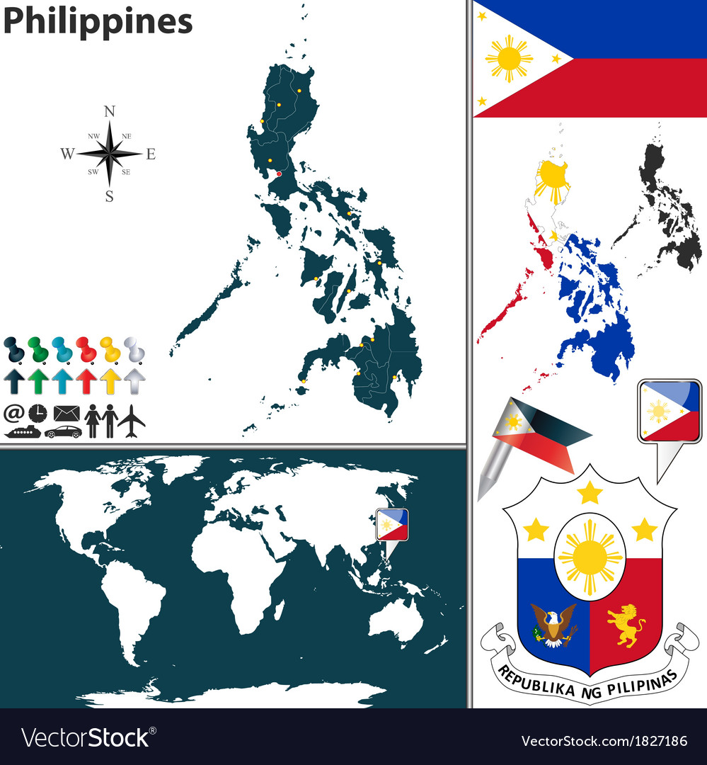 Philippines map world Royalty Free Vector Image on