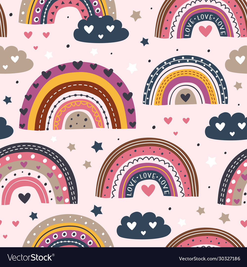 Seamless pattern with love rainbows