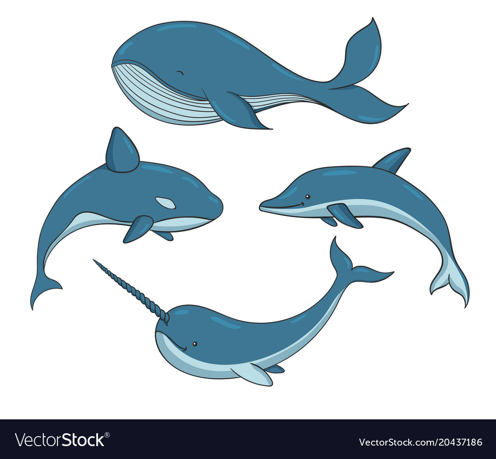 Set of blue underwater creatures with whales