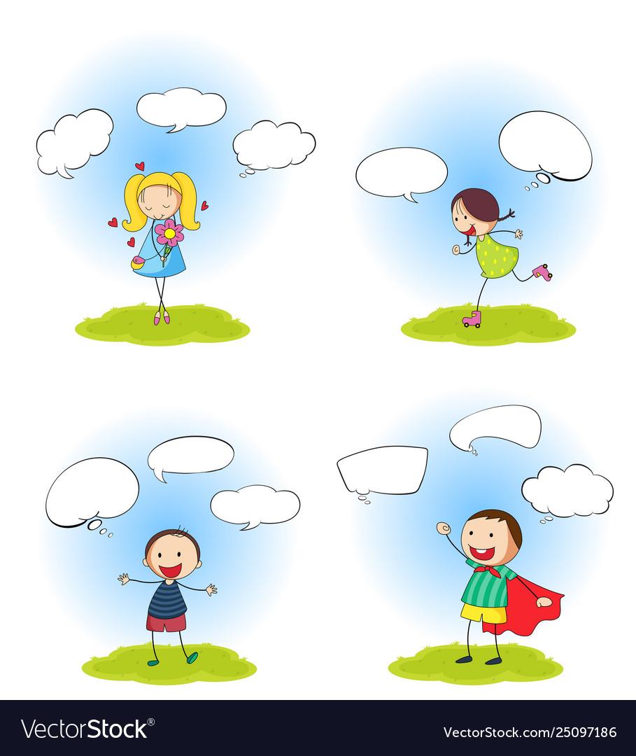 Set people with speech balloon