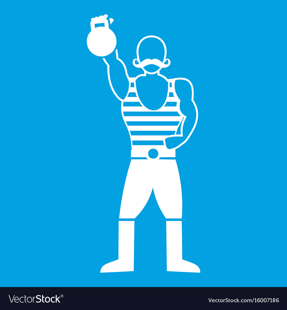 Strong man with kettlebell icon white
