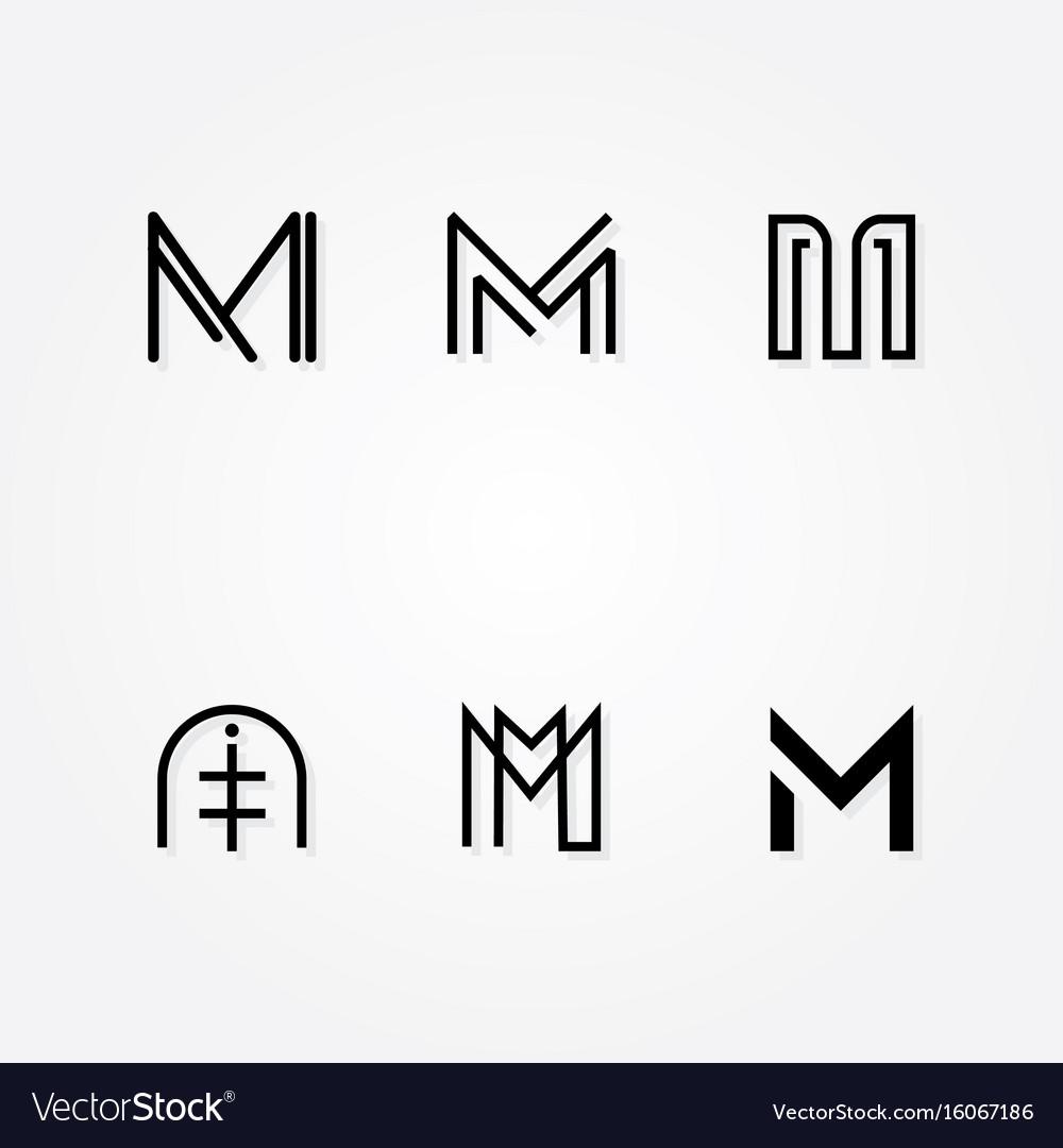 Various letter m big logo typo pack