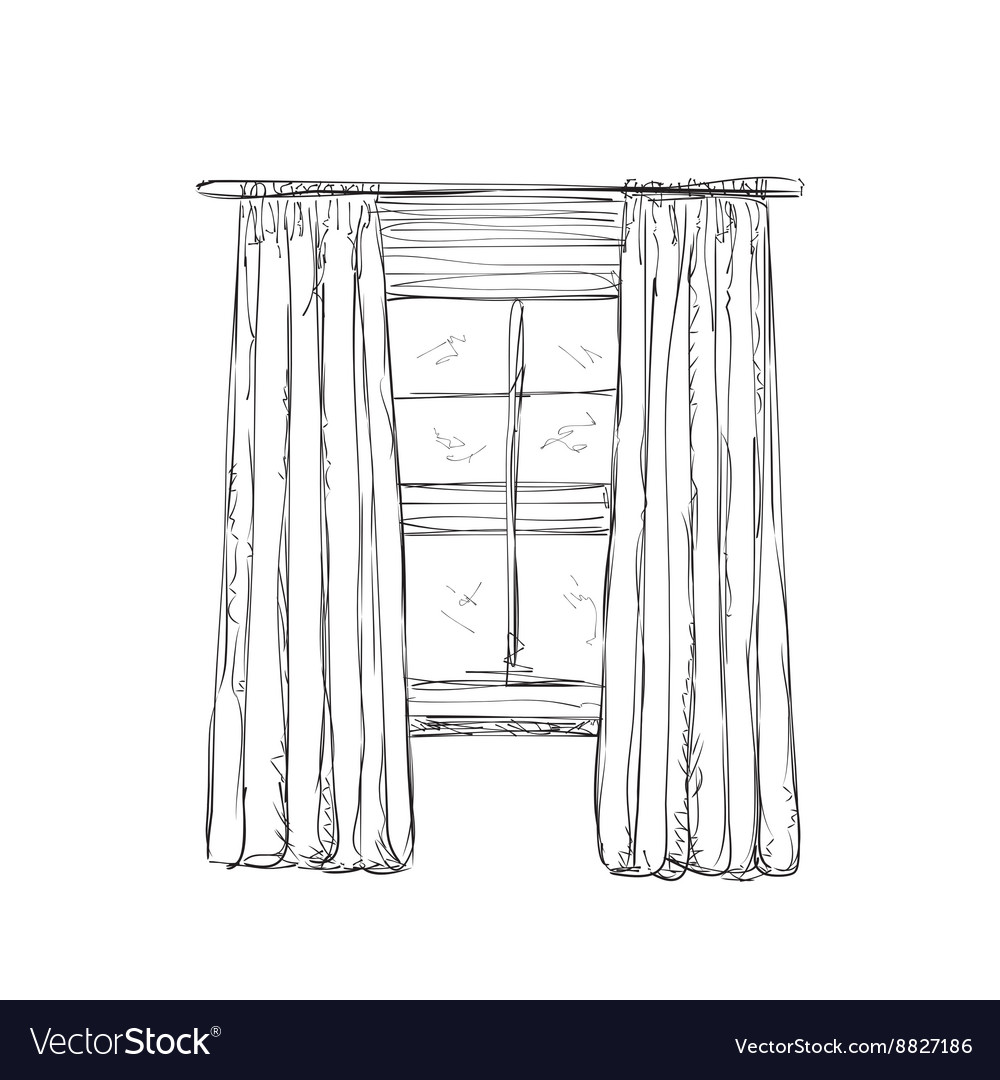 Window and curtains sketch Royalty Free Vector Image for Window With Curtains Drawing  156eri