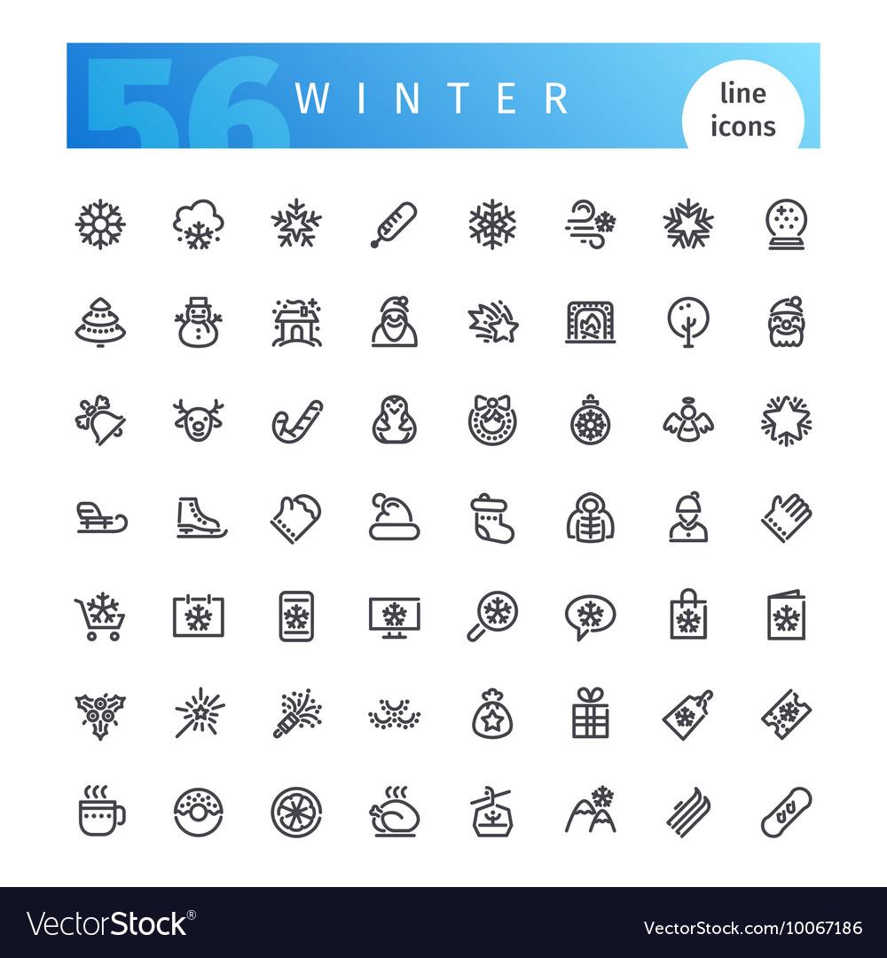 Winter Line Icons Set