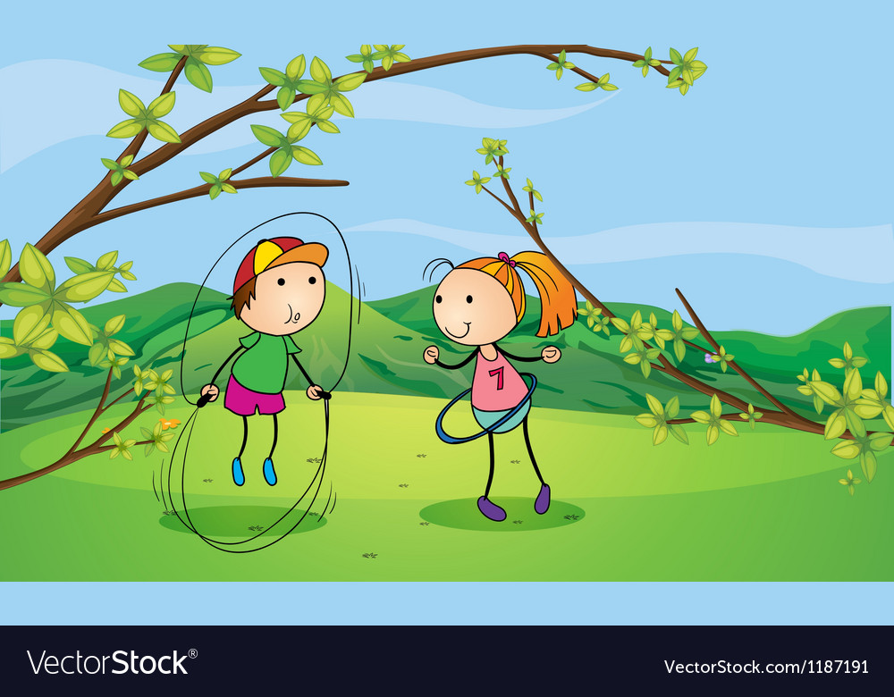 A boy and a girl playing in the hills