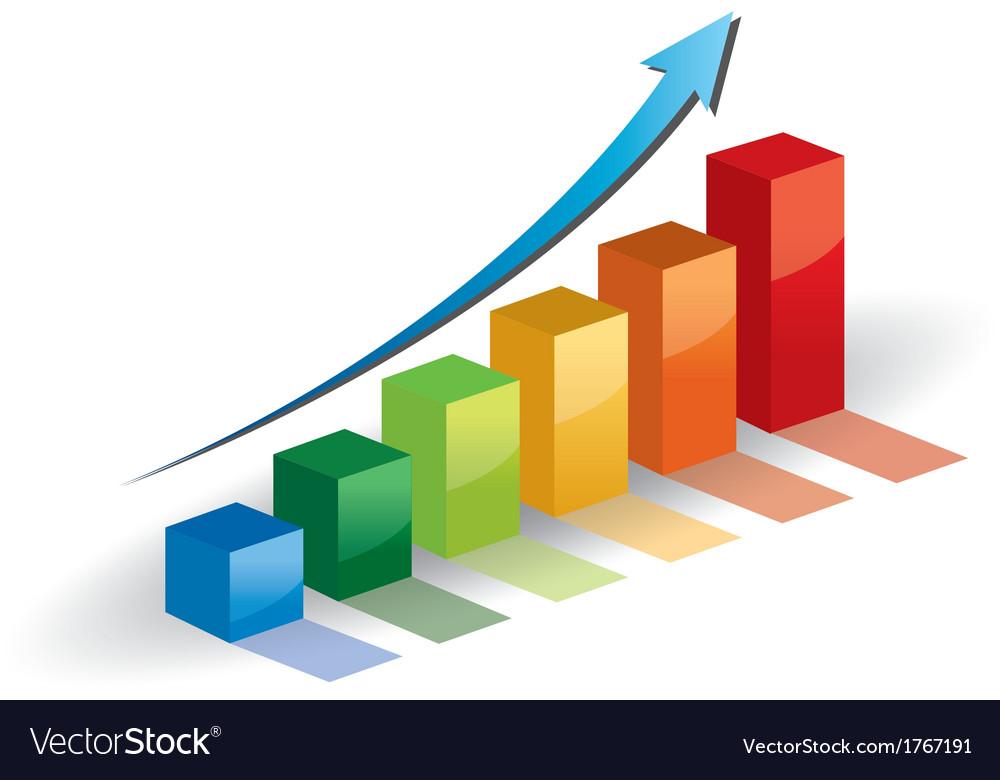 Business graph growth progress blue arrow Vector Image