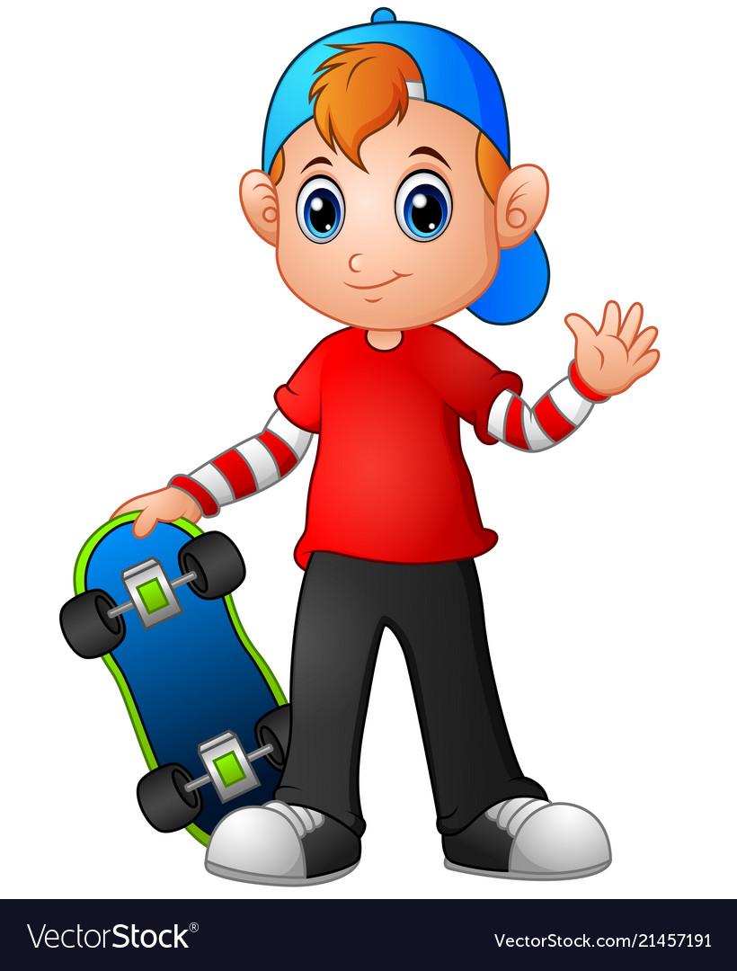 Cartoon boy holding skateboard