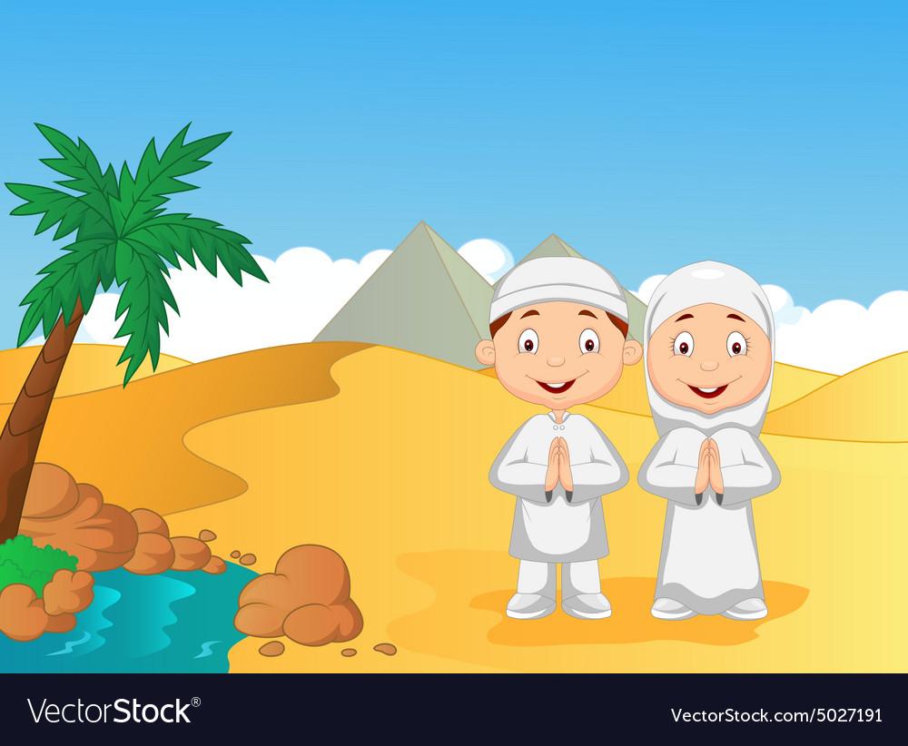 Cartoon Muslim kids with pyramid background