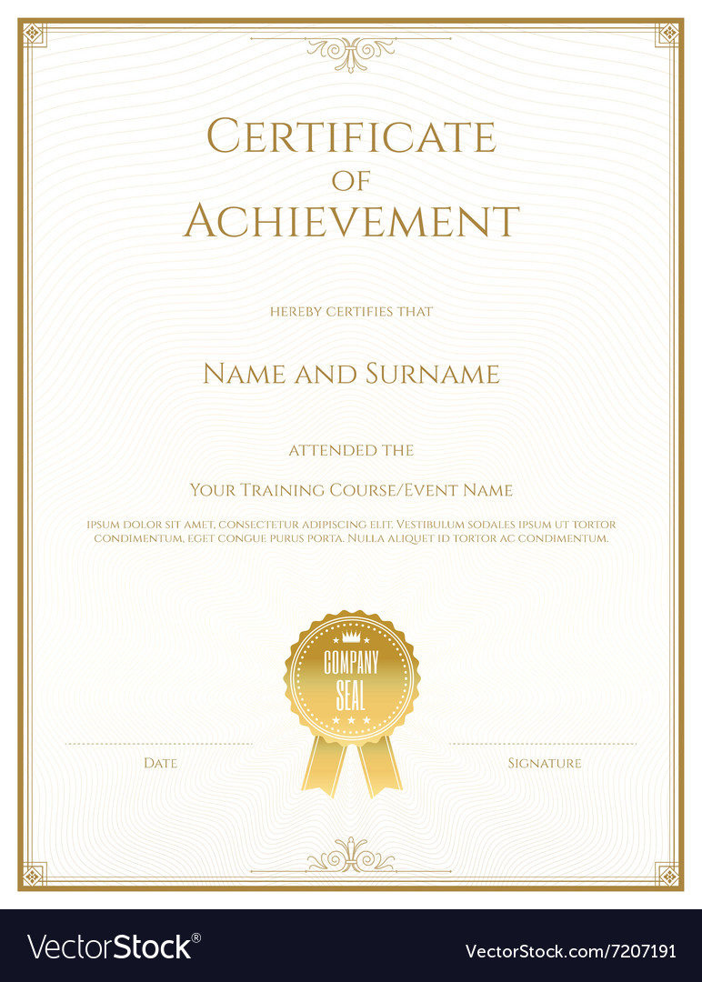 certificate achievement gold royalty free vector image