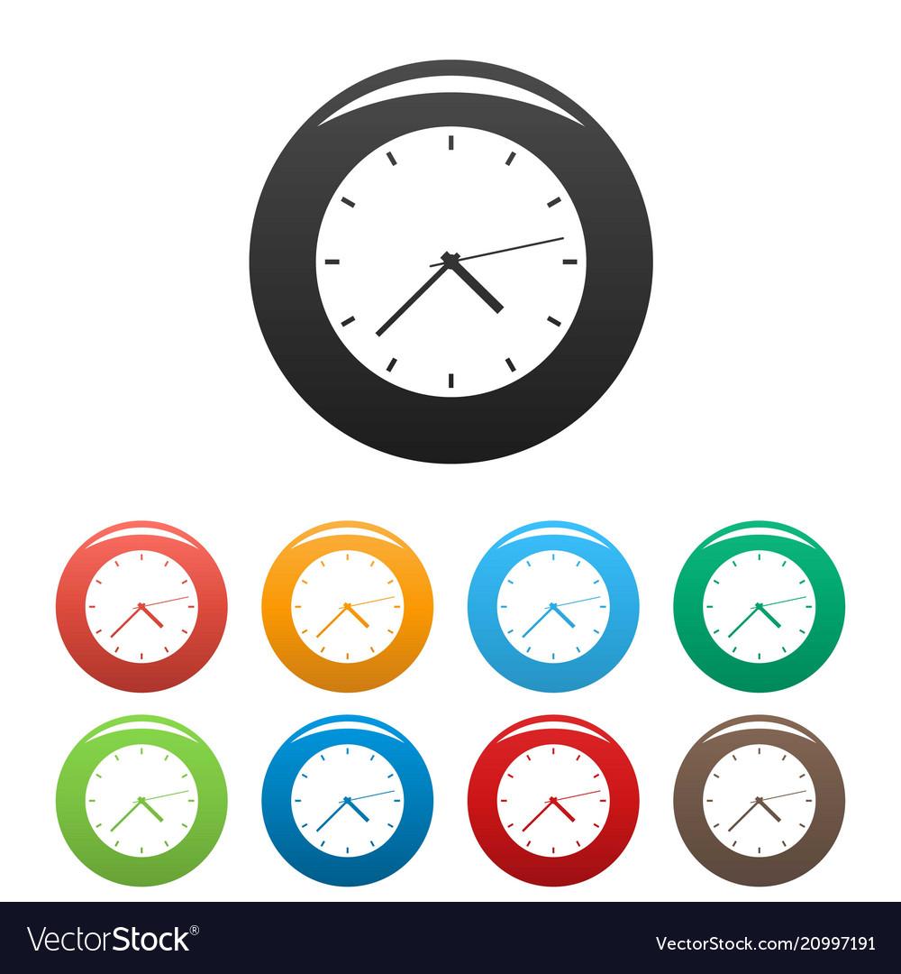 Clock modern icons set color